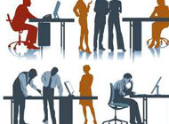 Team am Büroarbeitsplatz